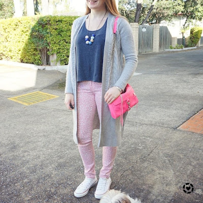 awayfromblue instagram pink leopard print skinny jeans blue tee neutral cardi converse mini MAC bag