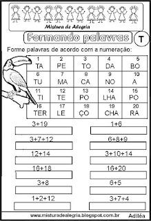 Formar palavras com sílabas numeradas T