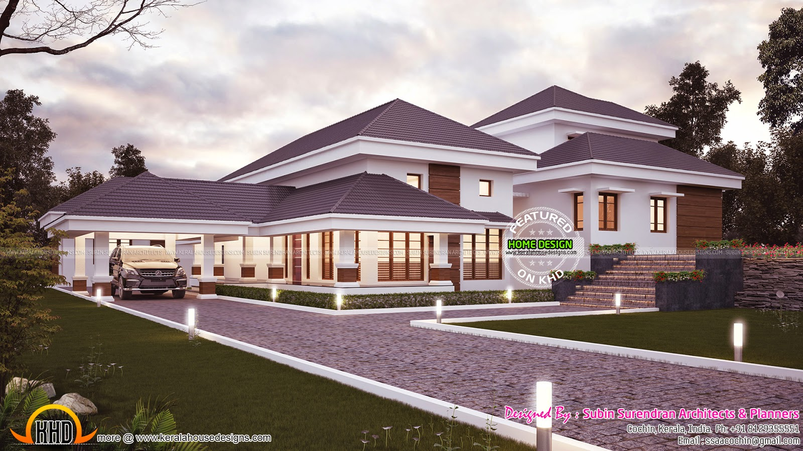 Traditional mix contemporary exterior kerala home design for Traditional home designs