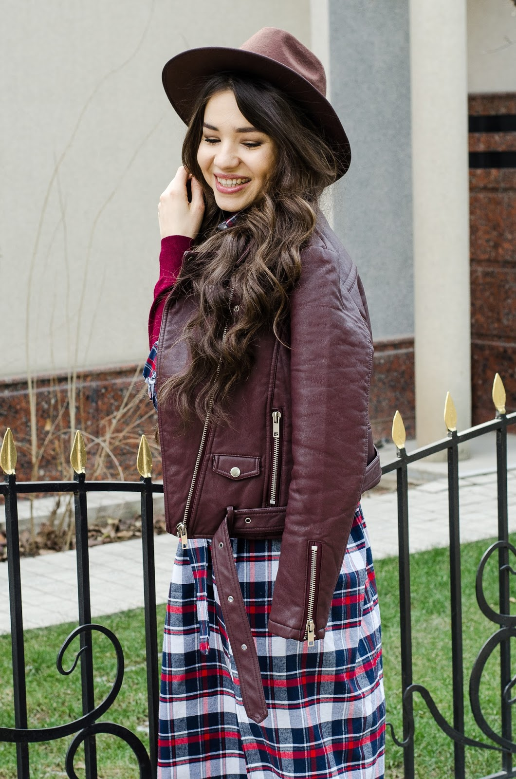 fashion-blogger-diyorasnotes-how to wear checked dress fishnet tights leather jacket