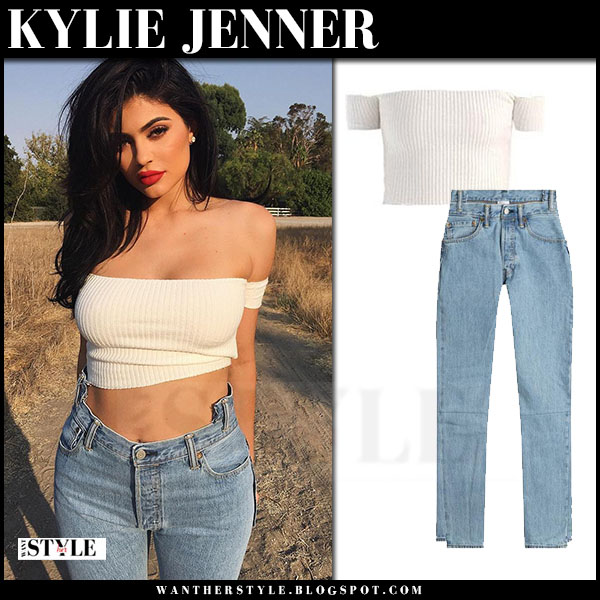 Kylie Jenner in white are you am I Minka crop top and high rise jeans Vetements what she wore