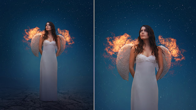 Fire Wings - Photoshop manipulation Tutorial - Night  Effect