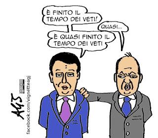 Renzi, alfano, maggioranza, veti, satira vignetta