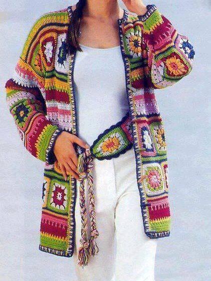 boho sweter z kwadratów szydełkiem