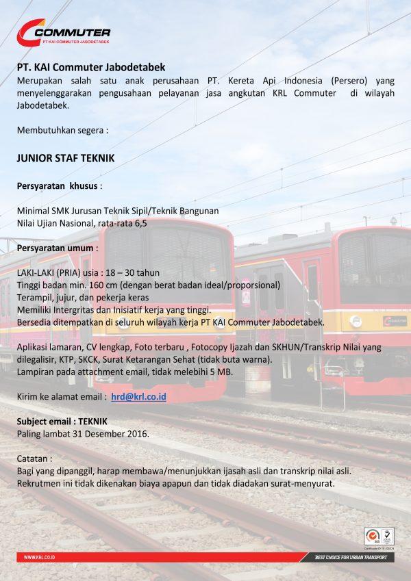 Lowongan Kerja KAI Commuter Jabodetabek Desember 2016 - Junior Staff Teknik
