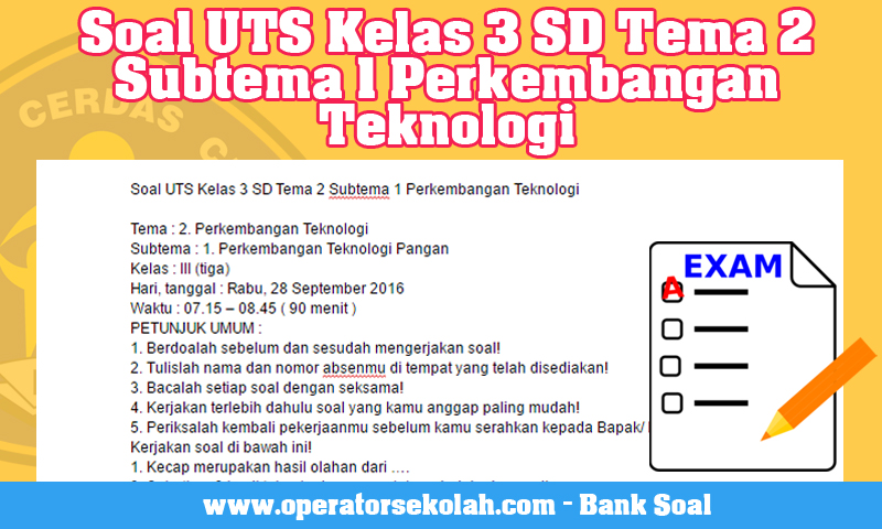 Soal UTS Kelas 3 SD Tema 2 Subtema 1 Perkembangan Teknologi