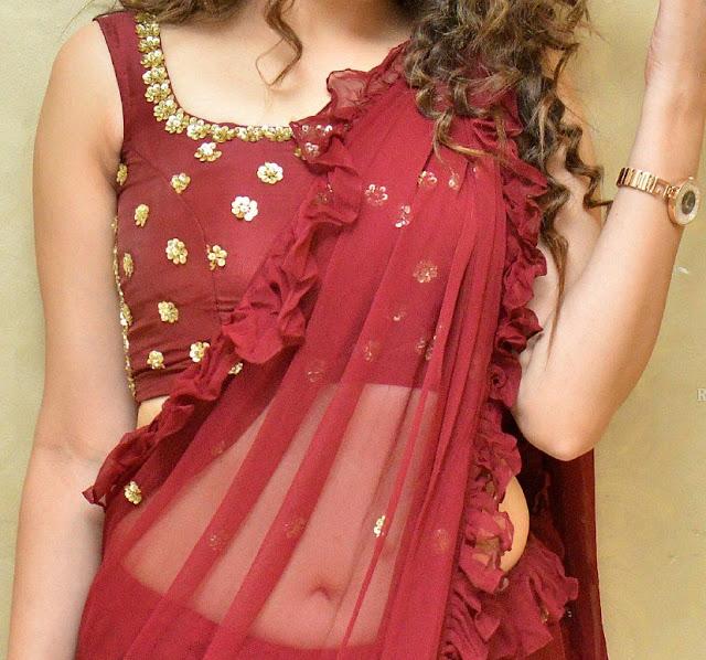 Diksha Panth nude navel see though in transparent saree naked white hip
