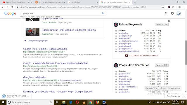 kata kunci yang sering dicari oleh orang Indonesia untuk Google Plus