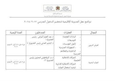 برنامج عمل المديرية الاقليمية لوزارة التربية الوطنية والتكوين المهني  بكلميم  تحضيرا للدخول المدرسي  2017/2018