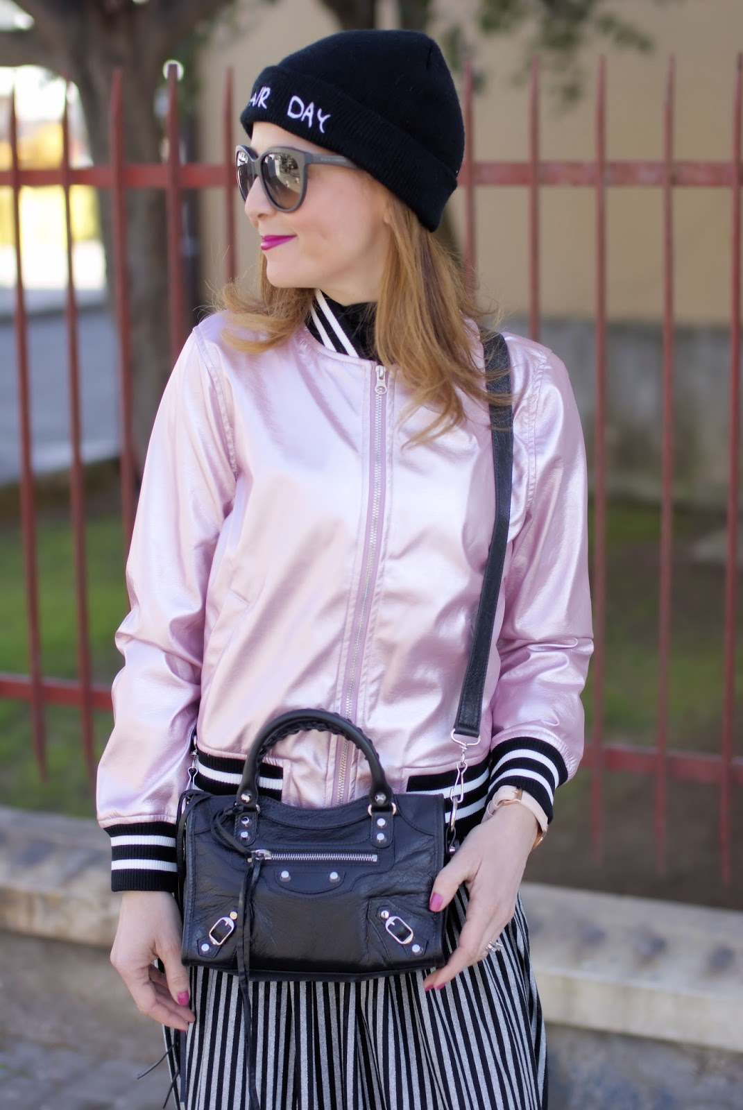 Striped maxi dress and Sammydress metallic pink bomber jacket on Fashion and Cookies fashion blog, fashion blogger style