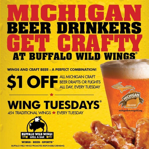 Buffalo Wild Wings Happy Hour. See all the Buffalo Wild Wings Happy Hour times and discounted menu items. There are different deals for most days, so we have listed all the Buffalo Wild Wings specials for Monday, Tuesday, Wednesday, Thursday and Friday.