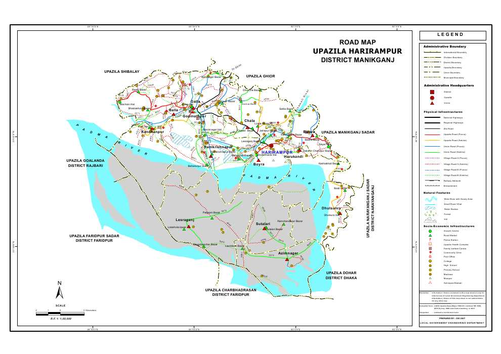 Harirampur Upazila Road Map Manikganj District Bangladesh