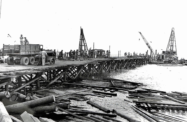 The pier at Sta. Clara had to be demolished in 1941 so the US Army had to construct a new one after liberation in 1945.  Image source:  United States National Archives.