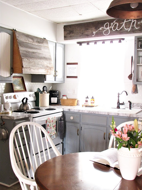 kitchen table in small farmhouse kitchen