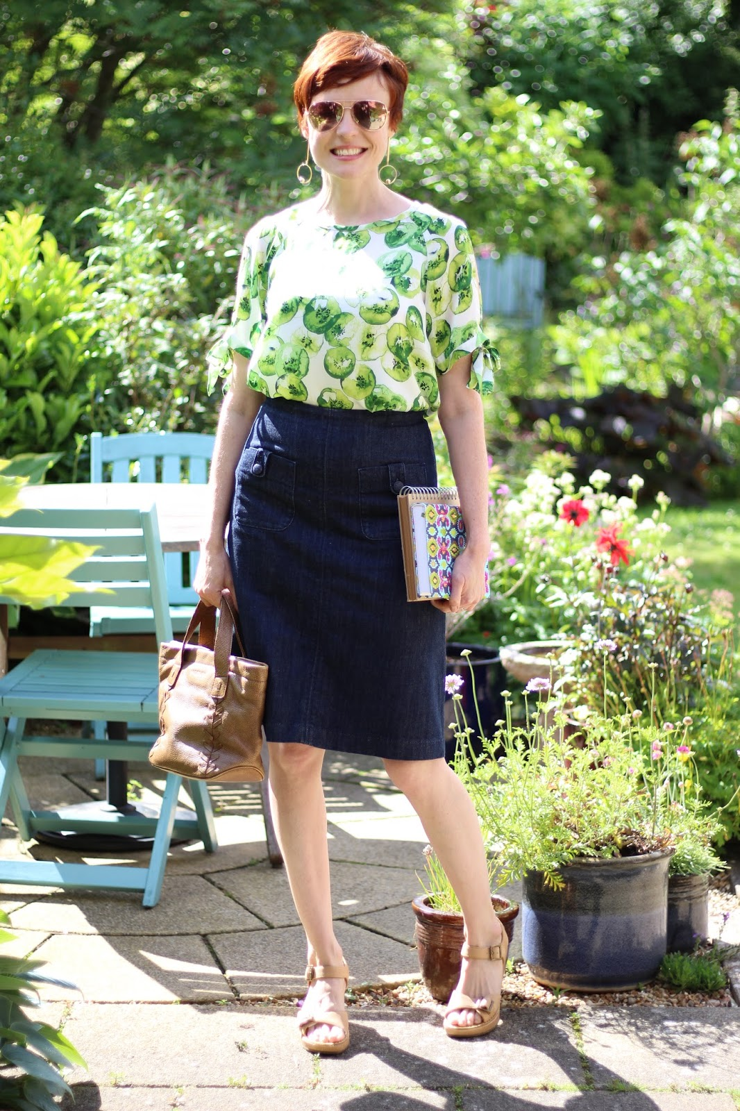 Denim A-line Skirt, Green and White Split Sleeve Blouse, Clarks Buckle Sandals | Fake Fabulous