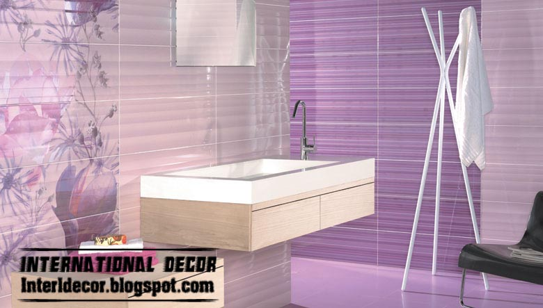 Wonderful Wall Tile Designs For Bathroom In Purple Color Tiles