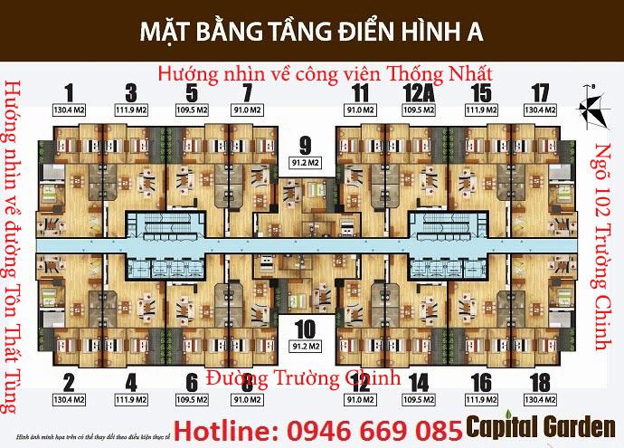Sơ đồ thiết kế chung cư capital garden tầng 2A - 15