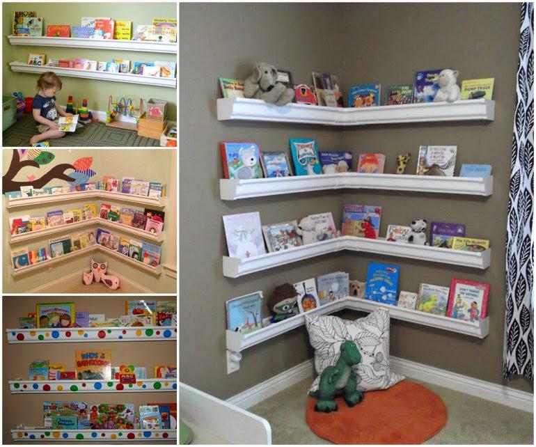 Ideas & Products: Rain Gutter Bookshelves For Kids