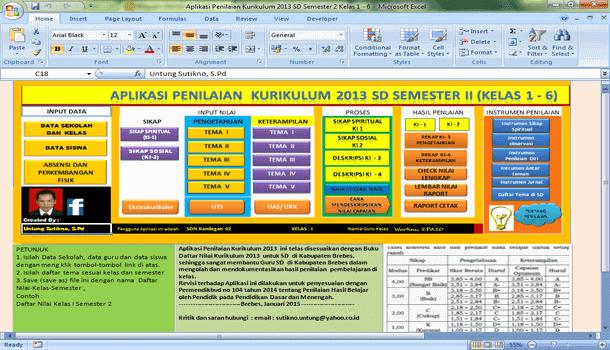 Aplikasi Penilaian Kurikulum 2013 SD Semester 2 Kelas 1 2 3 4 5 6