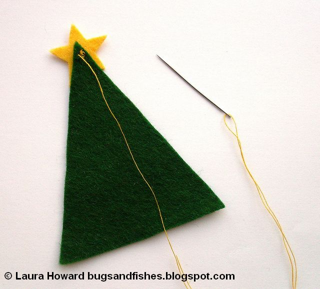 adding a felt star to a Christmas tree ornament