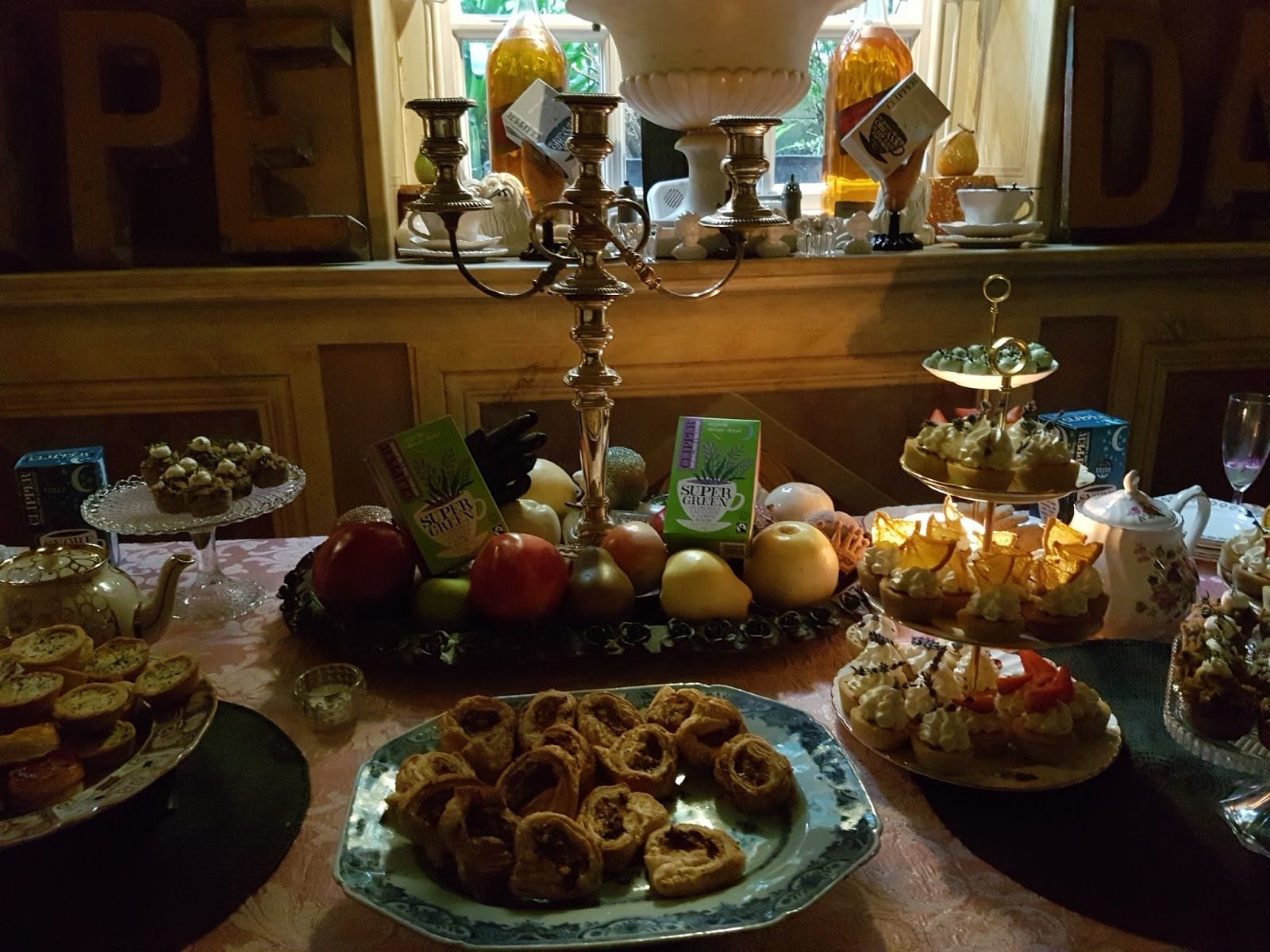 clipper teas and canapes on a table