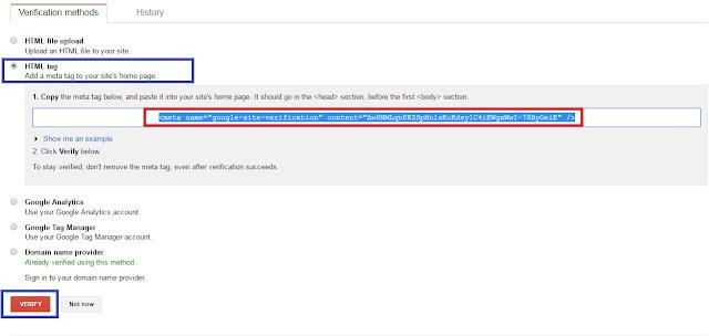 Verifikasi tag HTML google