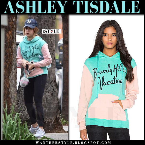 Ashley Tisdale in mint and pink hoodie wildfox beverly hills, black leggings and grey sneakers nike roshe flyknit what she wore