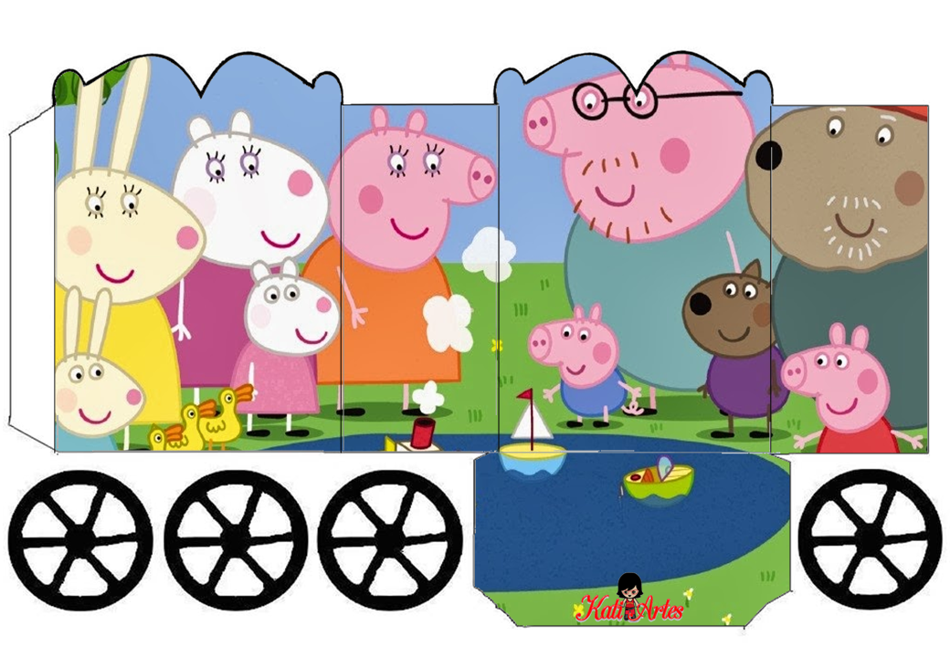 Peppa Pig: Caja con forma de Carruaje para Imprimir Gratis.