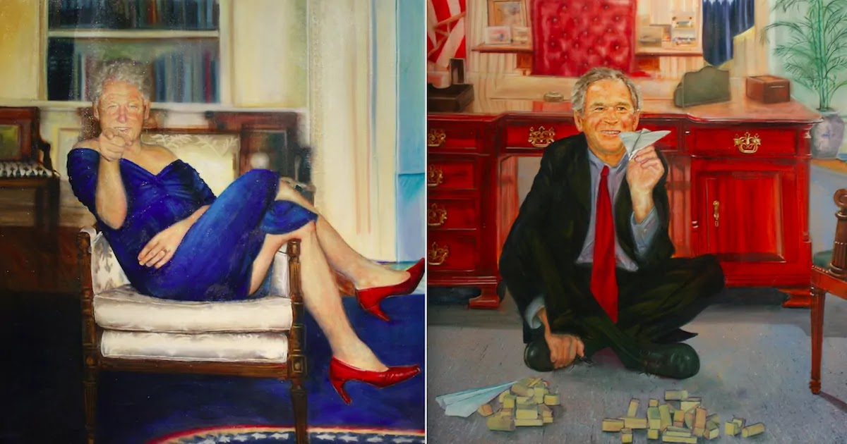This Is The Bizarre Painting Of Bill Clinton In A Dress Owned By Jeffrey Epstein, The Artist Speaks Out