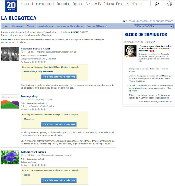 XII Edición de los Premios 20Blogs
