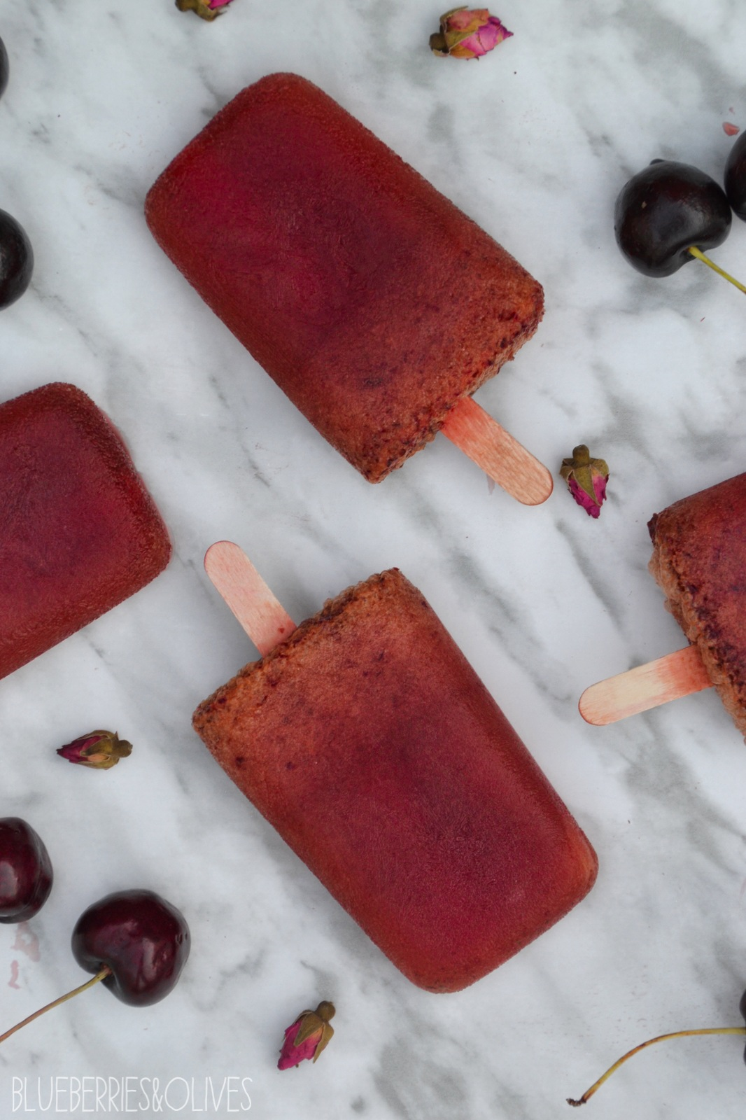 CHERRY, ROSES AND WHITE TEA POPSICLES