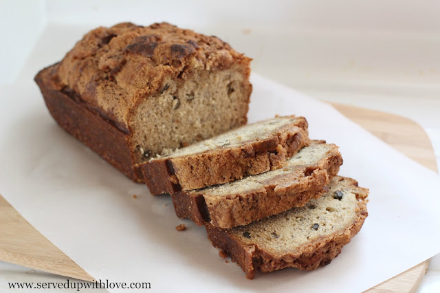 Cinnamon Crumb Banana Bread recipe from Served Up With Love