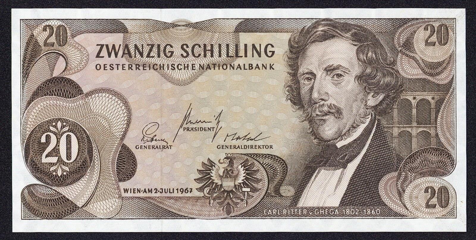 Austria Banknotes 20 Schilling banknote 1967 Carl Ritter von Ghega