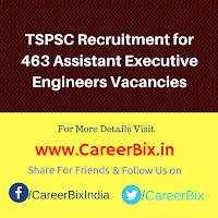 TSPSC Recruitment for 463 Assistant Executive Engineers Vacancies