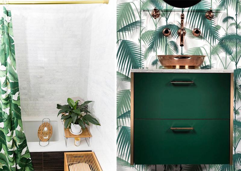 Ispirazioni in stile tropicale per il bagno tenda doccia e carta da parati