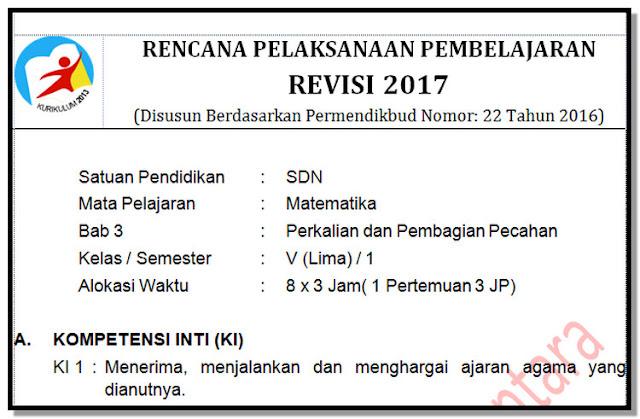 RPP Kelas 5 SD/MI Kurikulum 2013 Revisi 2017 Matematika