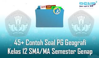 Contoh Soal dan jawaban PG Geografi Kelas 12 SMA/MA Semester Genap Terbaru