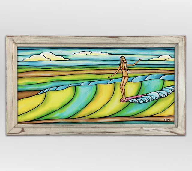 428062c1588f4 Heather Brown Surf Art. Weekend Slide in Reclaimed Wood Frame made on North  Shore Oahu