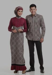 Model baju batik muslim couple untuk pasangan dewasa