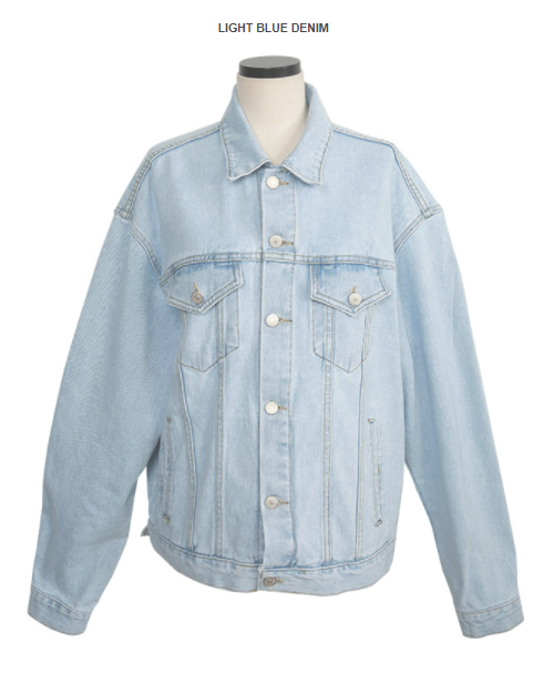 Buttoned Front Loose Fit Denim Jacket