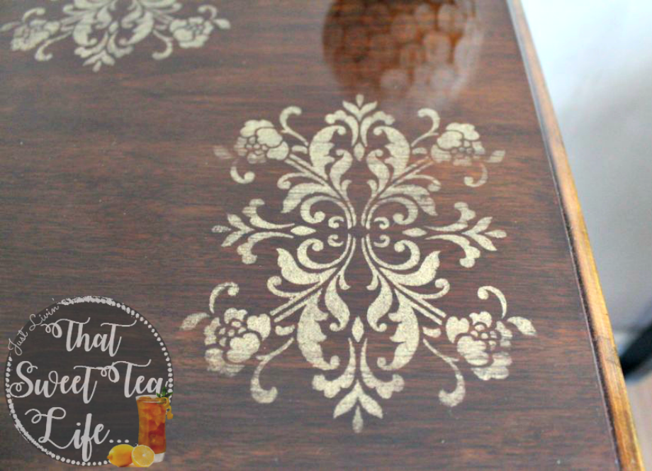 rustic glam painted look distressed gold stencil