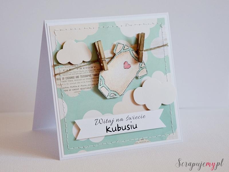 kartka z okazji narodzin dziecka,witaj na świecie, kartka ze spinaczami, kartka z chmurkami