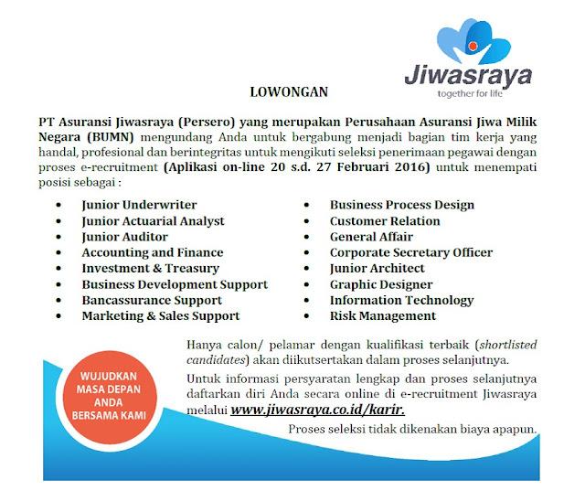 Loker terbaru BUMN Jiwasraya