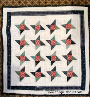 Star Quilt in Green and Red