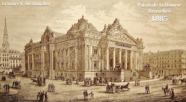 Place et palais de la Bourse - Bruxelles - 1885 - Les immeubles sur le côté droit de la Bourse ont été  construits en 1883 (rue Maus) - Bruxelles-Bruxellons