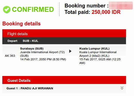 Tiket Promo Air Asia Sub - KL 250 ribu