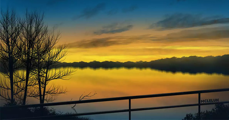 Evening lake scene photoshop painting