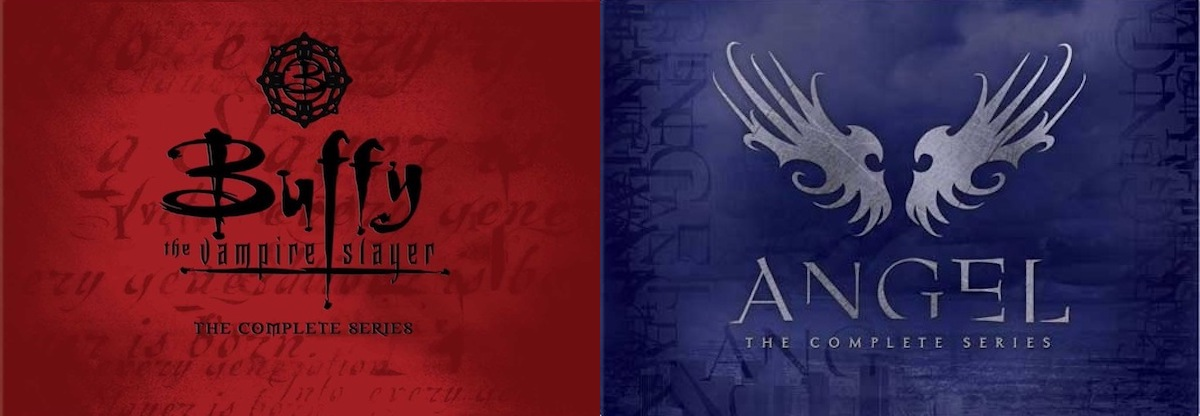 Front package designs for the complete-series DVD sets of 'Buffy', in deep red with ornate black type, and 'Angel', in blueish purple with ornate silver/gray type.