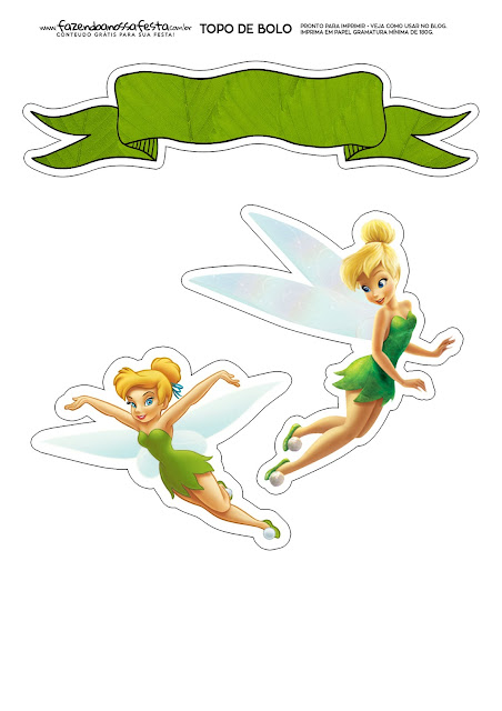 Tinker Bell: Free Printable Cake Toppers.