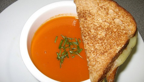Light Clear Tomato Soup with Grilled Cheese